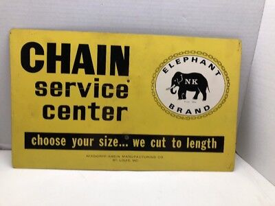 Vintage ELEPHANT BRAND CHAIN SERVICE CENTER Sign Gas Oil Mancave Tools NK