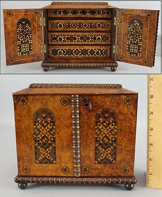 Antique 19thC Victorian Marquetry Inlaid Burl Wood Personal Chest Box, Draws