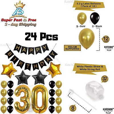 32 Pc Set Adult 30th Happy Birthday Balloons Supplies Decor Surprise Party Favor
