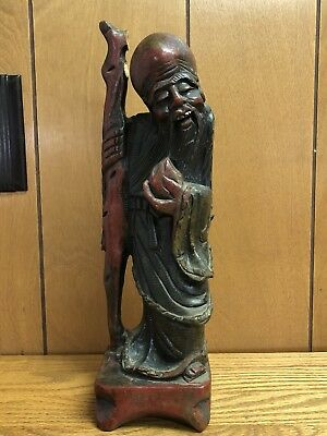 """Wood Carved Chinese Immortal Figure Statue 12"""""""