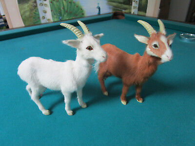 """Goats Realistic Figurines In Real Fur 9 X 9"""" [*sntabx 2]"""