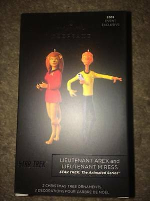 SDCC 2018 Star Trek Lieutenant Arex & M'Ress Hallmark Ornament Set IN HAND
