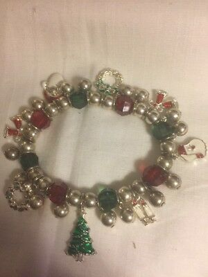 Christmas In July. Beautiful Stretch Silver Bracelet W Lots Of Charms.