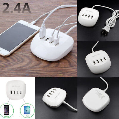 New Fast Charging Desktop Station 4-Port USB HUB Travel Home Wall Charger 3.4A