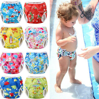 Adjustable Reusable Baby Summer Swim Diaper Trunks Waterproof Swimwear Nappy ash