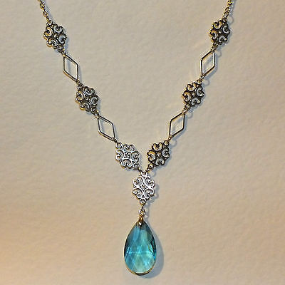 Lacy Filigree Victorian Style Turquoise Glass Crystal Dark Silver Pl Necklace