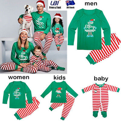 Family Matching Christmas Pajamas Set Men Women Kids Sleepwear Nightwear Outfit
