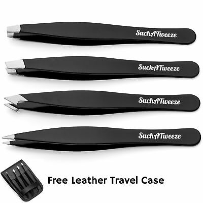 4 Tip Tweezer Set - SuchATweeze Premium Stainless Steel Precision Tweezers For