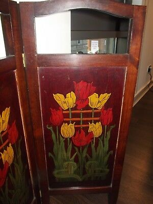 Arts & Crafts Poker Work Fire Screen. Hand Painted.