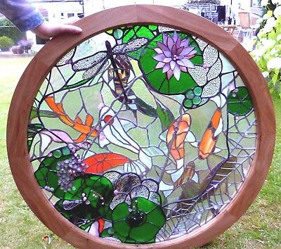 """""""Japanese pond with Koi fish"""" two layers glass sculpture in solid oak frame -Ori"""