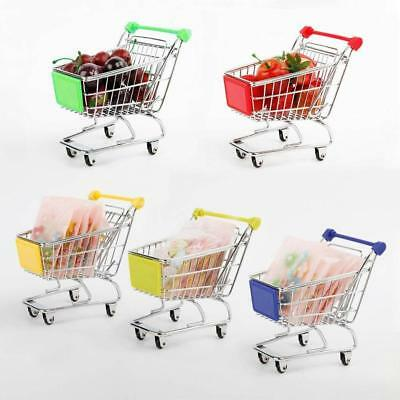 Mini Shopping Cart Supermarket Handcart Storage Trolley Toy Office Home Decor BC
