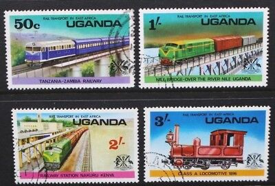 UGANDA 1976 Railway Transport: Locomotives. Set of 4. Fine USED. SG173/176.