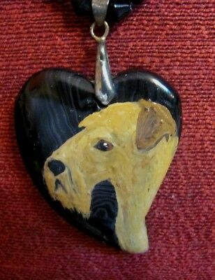 Lakeland Terrier hand painted on heart-shaped Agate pendant/bead/necklace
