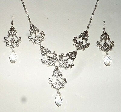 Filigree Victorian Style Silver Plated Clear Briolette Drop Necklace Earring Set