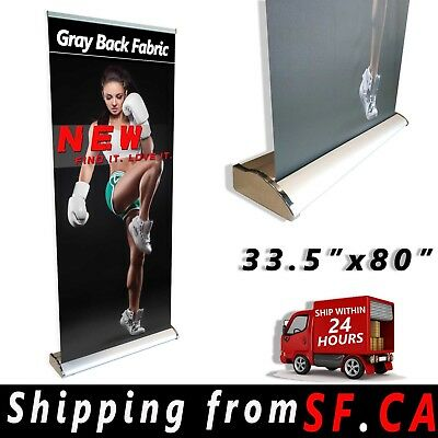 33.5 x 80,Deluxe Retractable Roll Up Banner Aluminum Stand Trade Show Display
