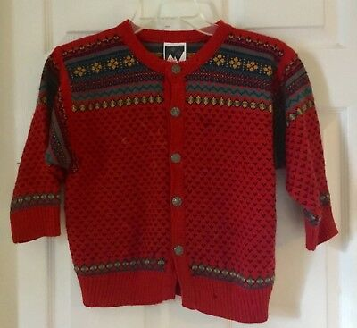 DALE OF NORWAY red Blue Fair Isle Knit Button Cardigan Wool Sweater 6 Boy Girl