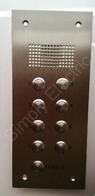 6x Door Entry Intercom Front Panel Stainless Steel 8 buttons + Trade 30x13