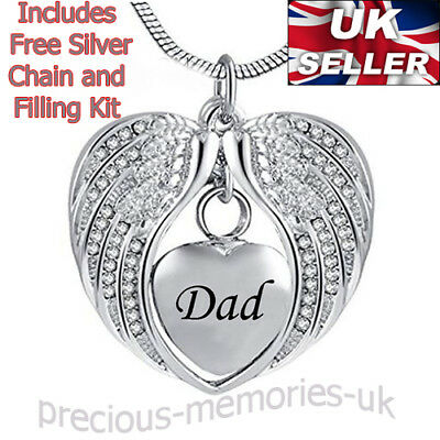 Dad Cremation Ashes Urn Necklace - Funeral Memorial Jewellery - Keepsake Pendant