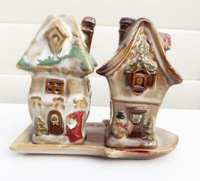 Old fashion cottage house Salt and Pepper Shaker set Xmas themed Ceramic - New