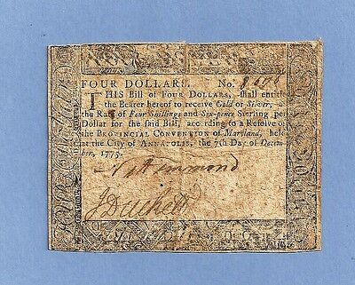 1775 Maryland $ 4 Colonial Currency Affordable Nice Signatures Very Fine Grade