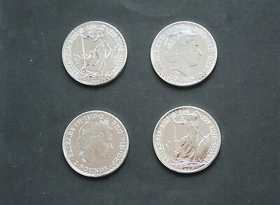 4 x 1 TROY OUNCE .999 FINENESS SOLID SILVER UNCIRCULATED 2015 BRITANNIA COINS