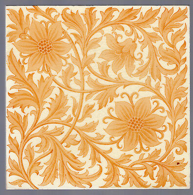 Mintons, Ltd - c1893 - Amber Floral - Antique Victorian Transfer Printed Tile