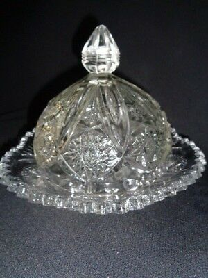 vintage cut lead crystal, dome lid,  cheese or butter dish, estate