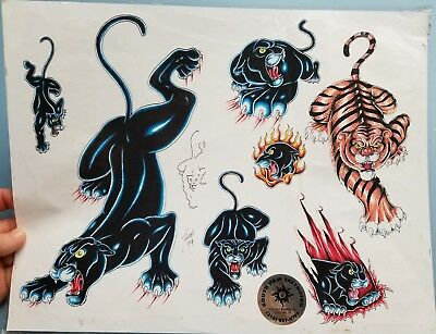 vintage fury 1999 production tattoo flash TX shop: black panther tiger