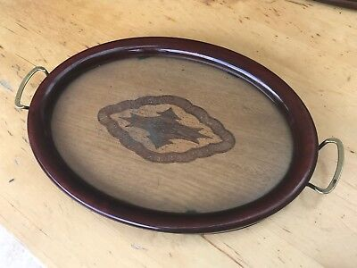 Edwardian Mahogany Marquetry & Glass Oval Tray, Brass Handles C1910 (Antique)