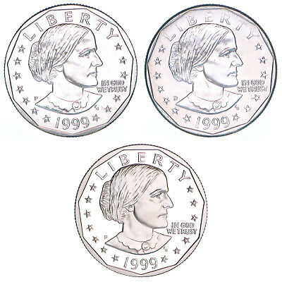 1999 P D P Susan B Anthony Dollar Year Set Proof & BU US 3 Coin Lot