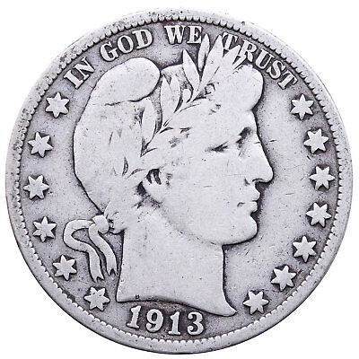 1913 Barber Half Dollar 90% Silver Very Good VG