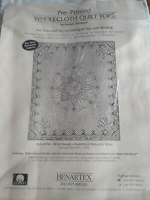 Pre-printed wholecloth quilt top Welsh Beauty Natural with binding