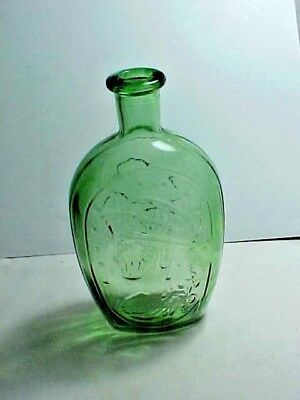 Vintage Wheaton Lady Liberty and Bald Eagle Green Glass Flask