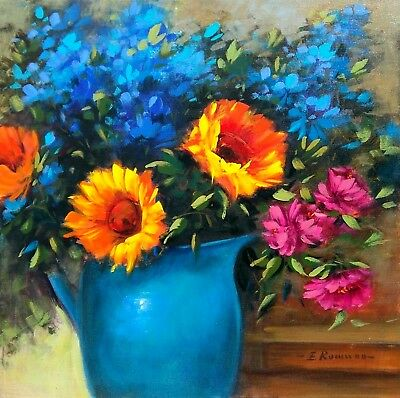 Italian Painting Sunflowers And Colored Flowers Oil Canvas E.romano Italy Lovely