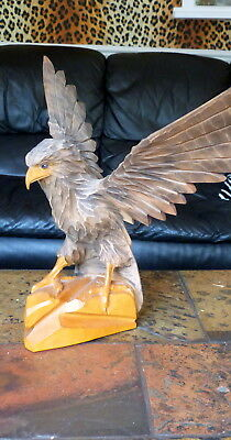 Hand carved wood eagle Russian artist