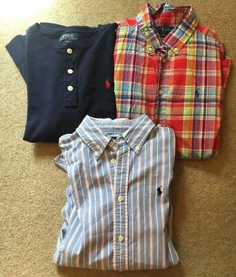 Lot Of 3 Polo Ralph Lauren Long Sleeve Shirts Boys Size Large 16-18