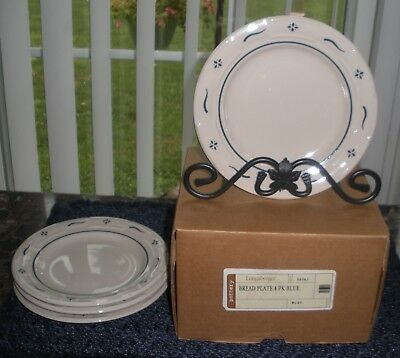 """4 Longaberger Blue Woven Traditions Bread Plate New In Box  7  1/4"""""""