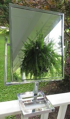 Large DEPARTMENT STORE Reversible Counter Top CHROME Display MIRROR Heavy Stand