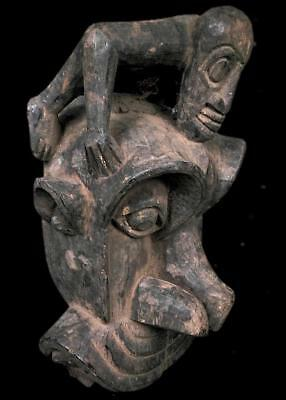 Old Tribal Bulu Monkey  Mask  With Carved Figure ---   Cameroon