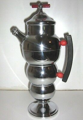 ART DECO 30s FARBERWARE-GORGEOUS-BUBBLE COCKTAIL SHAKER w/RED&BLK BAKELITE-XLNT