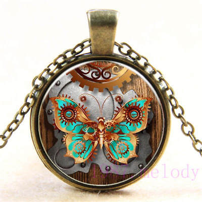 New Cabochon Glass Necklace bronze charm Retro pendants:steampunk butterfly