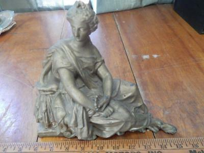 Antique Clock Topper, Woman Roman In Toga, Sitting! 9 Inches Tall!