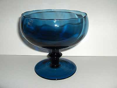 Vtg Cobalt London Blue Italian Art Glass Footed Pedestal Compote Candy Dish Bowl