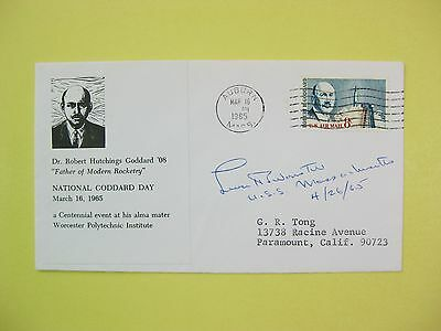Autograph, Leverett Saltonstall, Sentor 1945 - 1967 Mass. On Goddard day Cover.