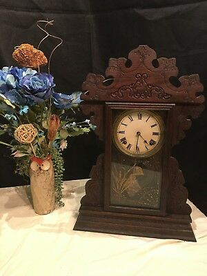 Antique Vintage Wind Up Clock with Chimes and Pendulum, Cherry wood, Early 1900s