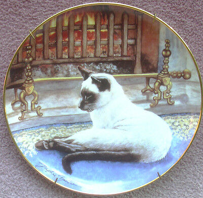 Slumbering Siamese Cat & Fireplace Ceramic Collectible Plate Daphne Baxter