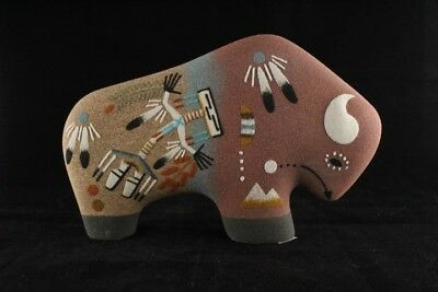 Navajo Buffalo Sand Painting Pottery Hand Painted by Original Navajo Artist