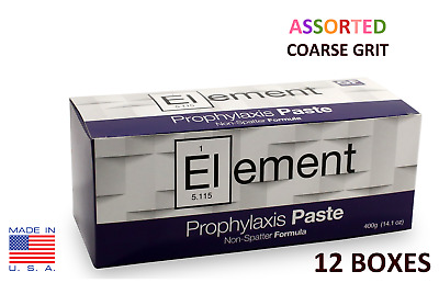 12 BOXES Element Prophy Paste Cups ASSORTED COARSE 200/Box  Dental Flouride