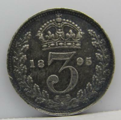 Great Britain 1895 Silver 3-Pence! Minty! Km# 777! Really Nice Type Coin! Look!