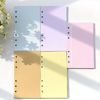 5 Assorted Assortment/LOT, Colored ruled Filler paper A6 Size, 40 Sheets